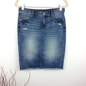 * Joe Fresh Distressed Denim Midi Skirt *
